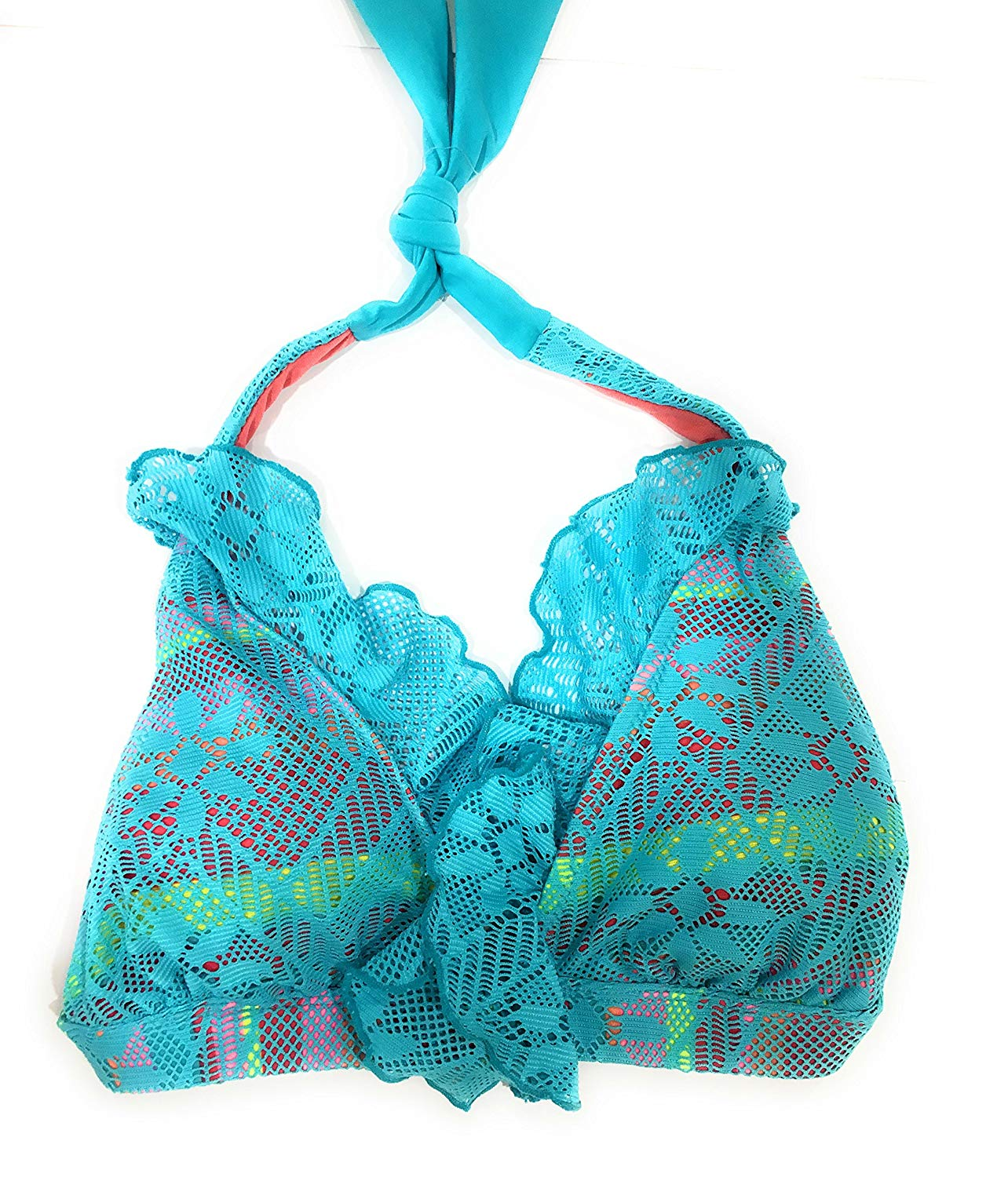 89016c0ee0a Get Quotations · Jessica Simpson Size S Small Blue Ruffled Halter New Bikini  Top