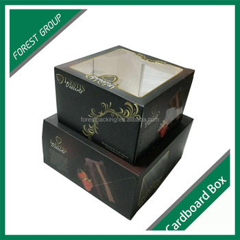 PAPER FOLDING BLACK CARDBOARD CAKE BOXES CUSTOM CARDBOARD PACKING BOXES FOR CHIRSTMAS CAKE