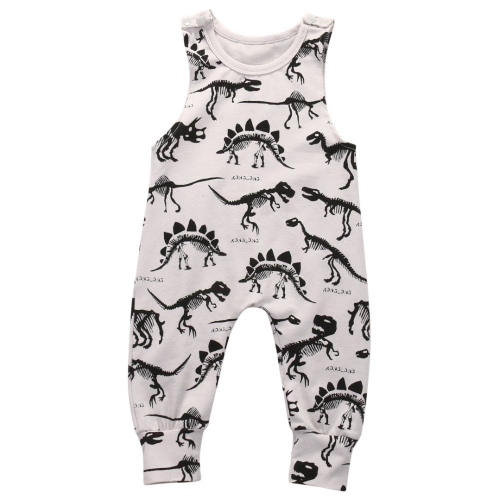 02845820e Dinossauros do bebê Da Menina do Menino Roupas Sem Mangas Impressão Verão  2018 Romper Do Bebê