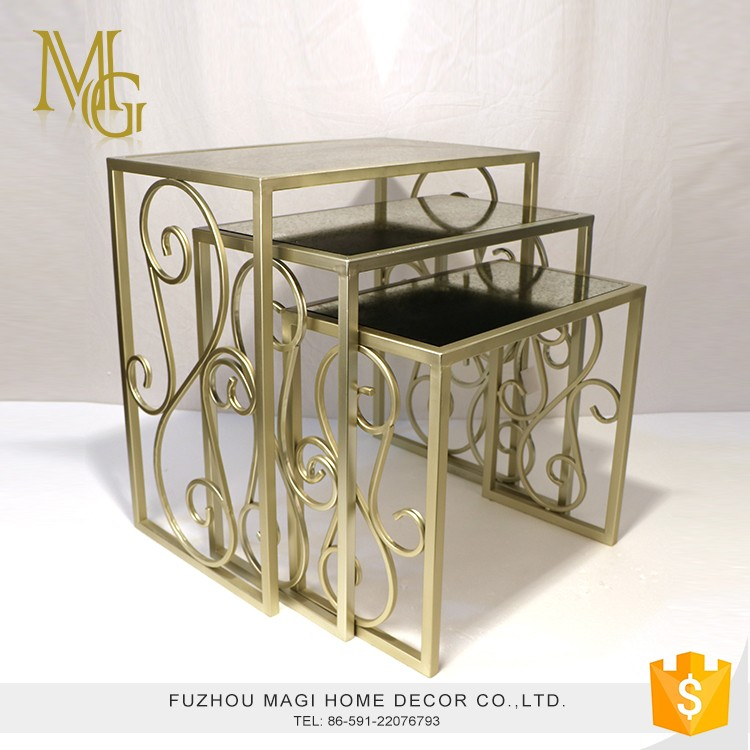 Customized metal+antique glass rustic gold corner flower pot stand