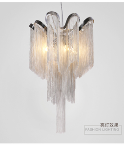 MEEROSEE Modern Vintage Lamp Aluminum Chain Chandelier Lighting Luxury Pendant Hanging Light for Home Hotel Restaurant MD85220