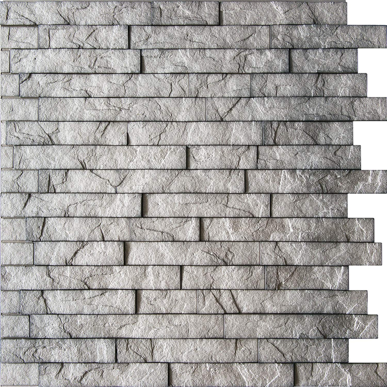 """Ledge Stone 3D Decorative Wall Panels - Lightweight thermoplastic Decorative 3D Wall Tiles for Easy Glue Up Installation. Sparkled Grey Color. Pack of 4 Tiles (Each Tile 24""""x24"""" Covers ~4 sq. ft)"""
