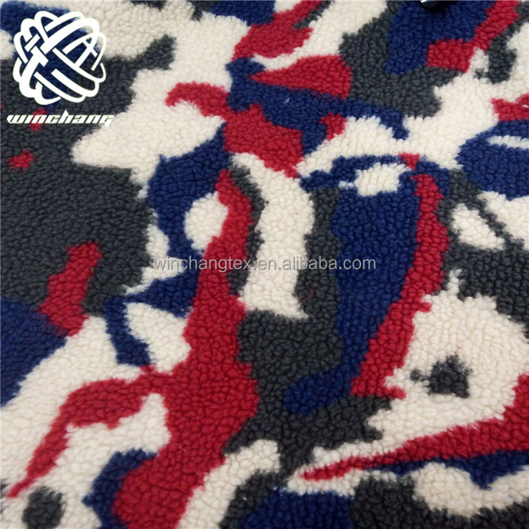 jacquard camouflage sherpa fleece <strong>fabric</strong>