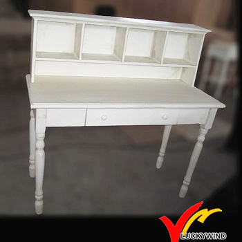 Antique White Solid Wood Desk With Shelf And Drawer