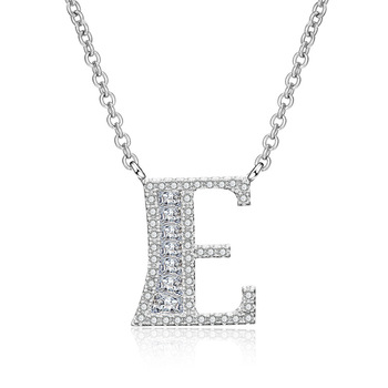 Cubic zirconia letter E necklace old english letter necklace