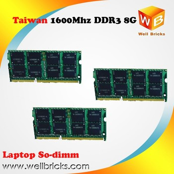 Taiwan online 100% tested original chips ram ddr3 8gb laptop