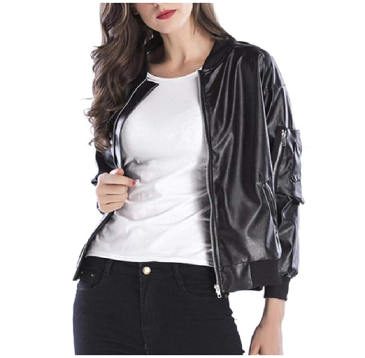 Zimaes-Women Outwear Stand-up Collar Zipper Faux-Leather Coat Jacket