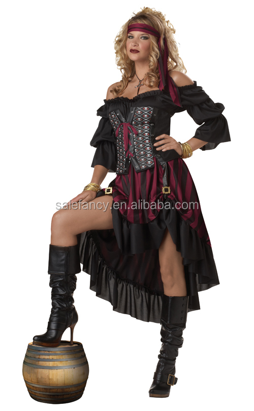 Plus Size Pirate Wench Adult Womens Sexy rinascimentali Gonne lunghe Gonne vestono Costume di Halloween QAWC-2113