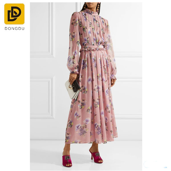 High Quality Autumn Winter Vintage Floral Print Loose Maxi Dress Long Sleeve Pleated Dresses Cotton Linen Women Dress Oversized