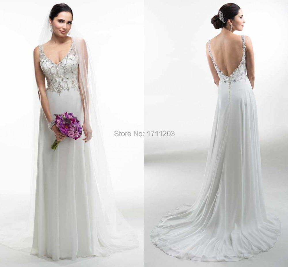 Famous Desinger 2015 New Elegant A Line Chiffon Wedding Gowns Spaghetti Strap Backless Sexy Beaded Wedding Dress Vestido Noiva