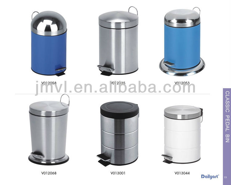 Wholesale eco-friendly cylinder stainless steel trash can with the foot pedal