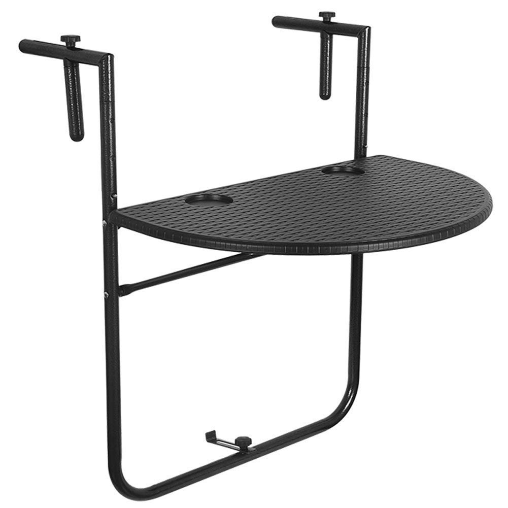 """Sundale Outdoor Indoor Folding Hanging Table Adjustable Balcony Railing Table for Patio, Garden, Deck, Black Wicker Finish, 23.6""""(L) x 15.6""""(W) x 32.7""""(H)"""