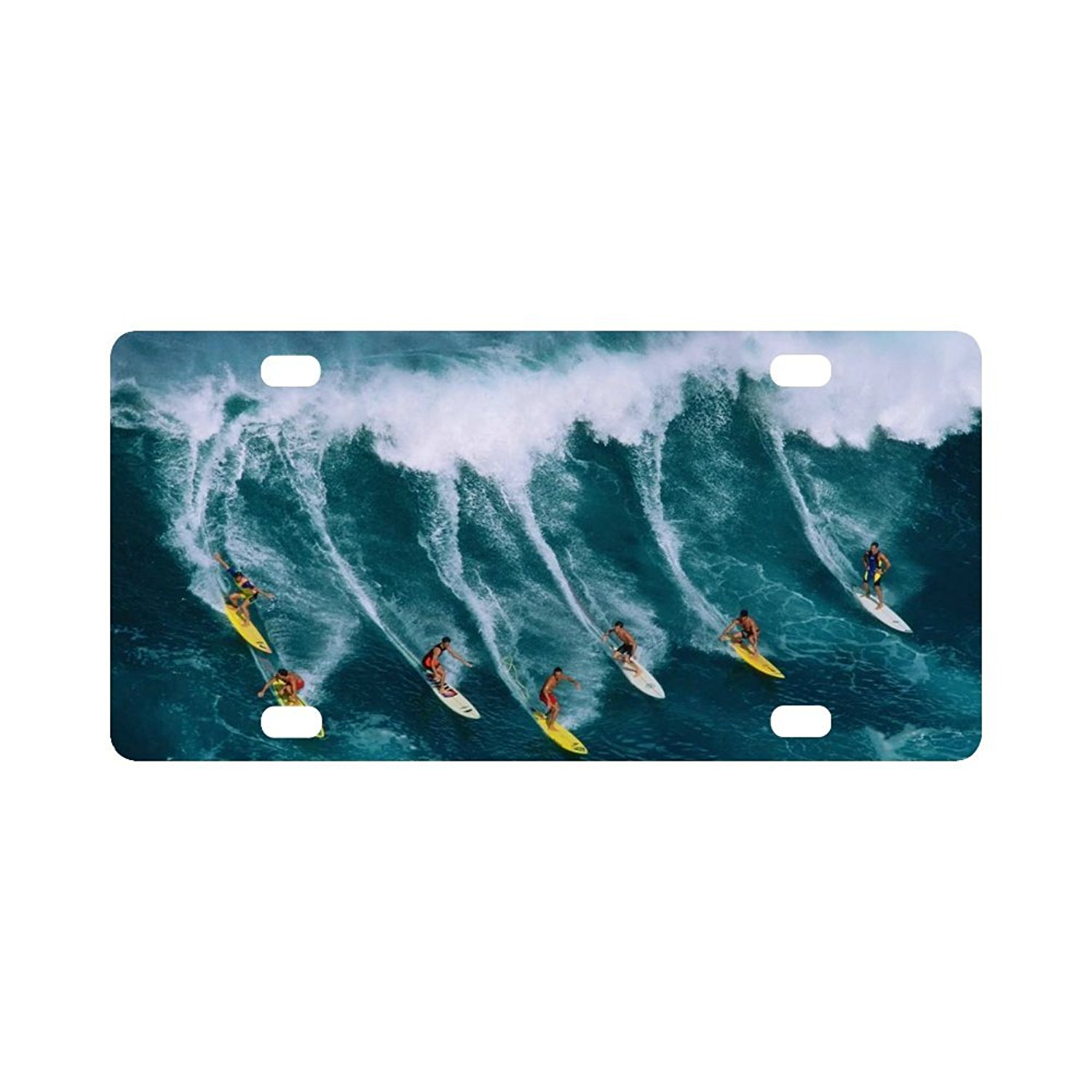 """Ocean Wave Vanity Strong And Durable Aluminum Car Metal License Plate Frame for Women/Men Four Holes Tag 12"""" X 6"""""""