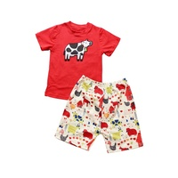 Children Boutique Clothing Sets New Design Girls Cow Appliques T-shirt & Animals Printed Shorts Girls Summer Clothes