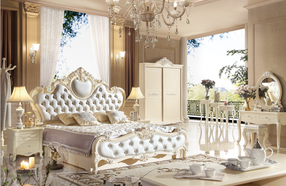 Luxury French Style Wooden Antique White Bedroom Furniture