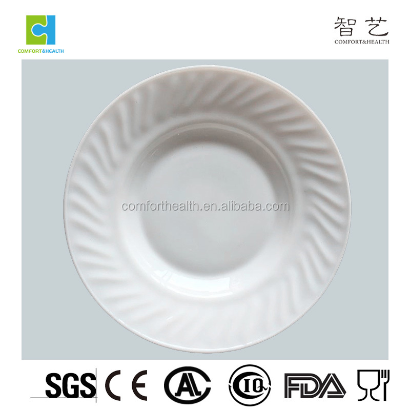 Manufature Eco-friendly round soup unbreakable glass plates