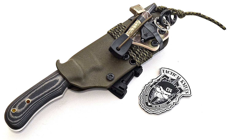 CFK Cutlery Company USA Custom Handmade D2 Convex-Flat Grind Bushcraft Hunting Knife with Yellow Hawk Horizontal / Vertical OD Green Kydex Sheath & Compass, LED Light, Fire Starter Rod Set CFK200