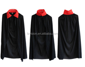 single layer halloween costumes kids vampire cape black color red collar - Halloween Costumes With A Cape