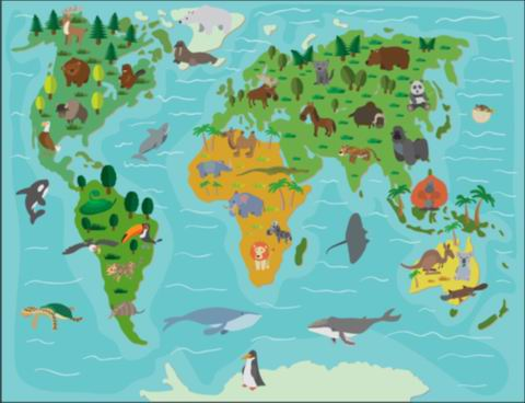 Wallpaper world map decoration easy installation eco friendly eva wallpaper world map decoration easy installation eco friendly eva animal world map with glue backing gumiabroncs Image collections