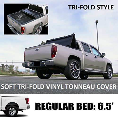 "VXMOTOR Tri-Fold Soft Vinyl Truck Bed Topper Cap Tonneau Cover 2015-2016 & Up Ford F150 Regular ( Standard ) / Super ( Extended ) / Super Crew ( Crew ) Cab 6.5 Ft ( 78"" ) Bed Models"