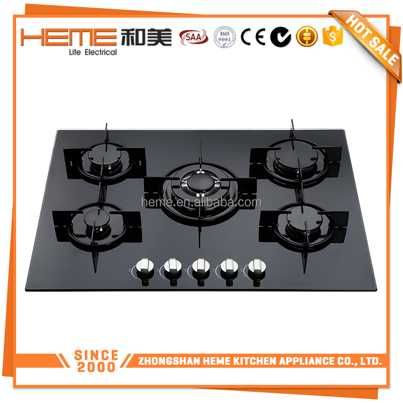 Tempered glass 5 burners gas stove/70cm gas hob/gas cooker