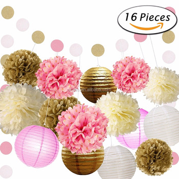 Umiss 16 Pcs Pink And Gold Tissue Paper Flowers Pom Poms Lanterns