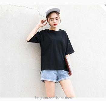 2018 new style blank loose high quality girls led half sleeve tshirt