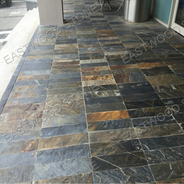 Multicolor slate floor tile paving stone for interior and - Suelos jardin exterior ...