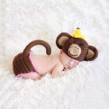 Unikids Newborn Foto Props Nette Affe Häkeln Stricken Kostüm Set ...