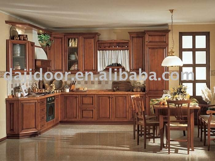 luxe classique en bois massif armoires de cuisine dj k031 - Cuisine Classique En Bois Massif