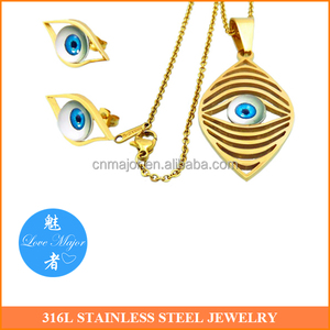 18K Gold Plated Fashion Stainless Steel Jewelry Sets Beautiful Eye Design