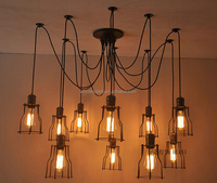 Industrial loft style Black iron Electric vintage pendant light with 6-12 bulbs