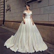RSM66537 lace fashion satin long train new german beaded cap sleeve bridal dress big wedding dresses