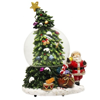 Polyresin wind up Santa water ball Christmas tree snow globe resin craft souvenir with music box