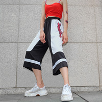 A0600T China Wholesale Woman Printing Stripe Splicing Fast Dry Soft Loose Hip Hop Street Style Short Casual Pants