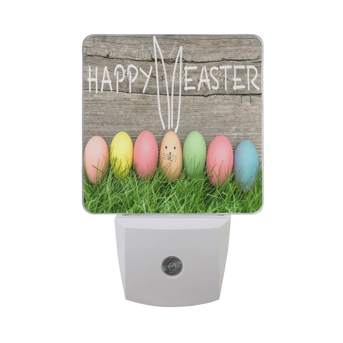 Naanle Set Of 2 Colorful Easter Egg Cute Bunny Rabbit Wood Auto Sensor LED Dusk To Dawn Night Light Plug In Indoor for Adults