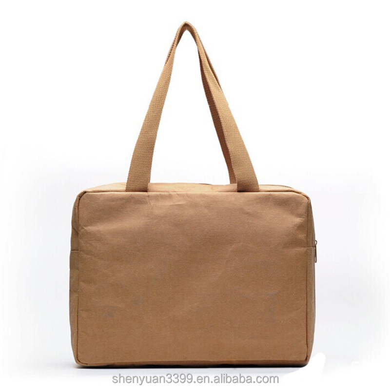 Women kraft paper Shopping Bag Casual Multi-colors Shoulder Bags Shopping portable fly bag with long strap