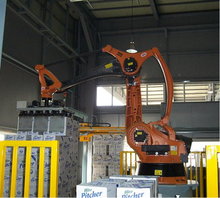 rice bag stacking robotic palletizing system with designed gripper