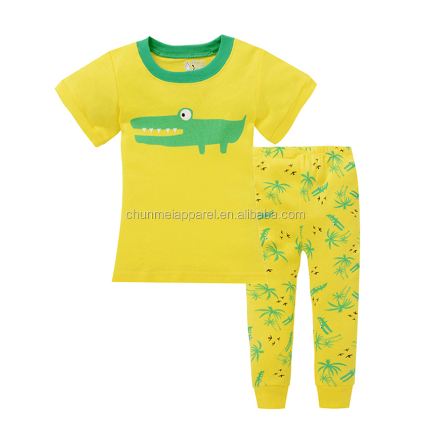 fashion new arrival children summer short sleeve cartoon pajamas animal sleepwear for boys