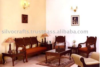 Indian Teak Wood Hand Carved Living Room Furniture With Sofa Set Chairs Coffee Table