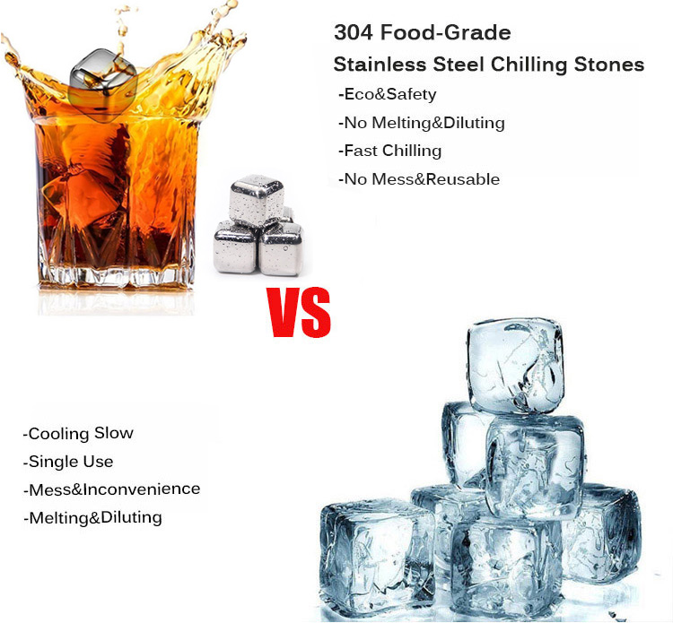 4 Pack Reusable Stainless Steel Chilling Ice Cubes Whiskey Stone for Whiskey Wine