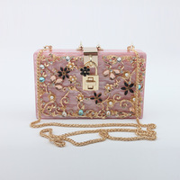 2019 Hotting selling Solid Color Acrylic Evening Bag Clutch With Flowers For Women