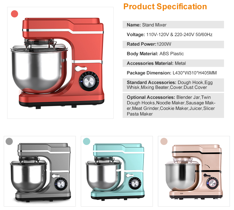 Stand mixers with stainless steel bowl mixer rotating classic food