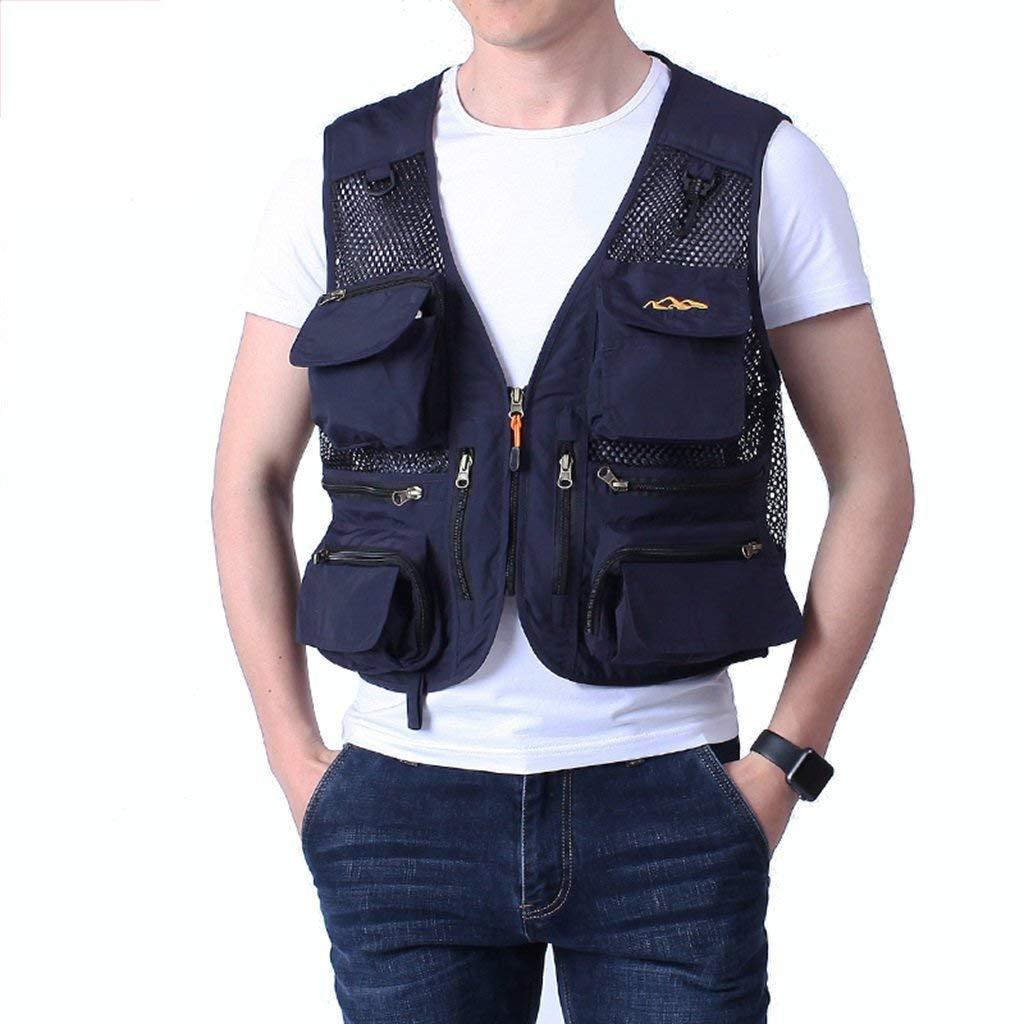 Pocket vest Outdoor sports vest Multi Workwear vest Fishing vest Summer thin vest jacket Breathable comfort Removable (Color : Blue, Size : 4XL)