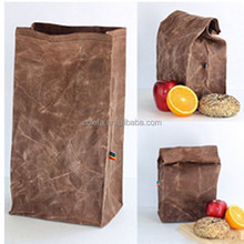 2017 new waxed lunch bag for picnic fruit vegetable breast milk brown waxed canvas lunch bag