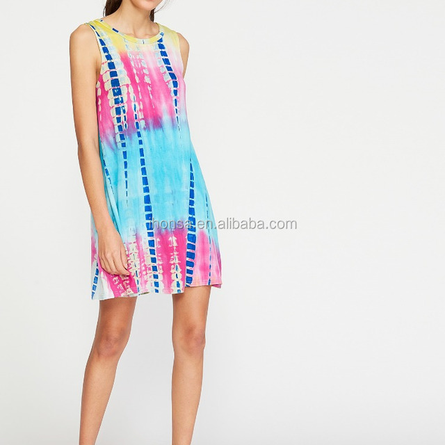 Summer Cool Stlyle Multicolor Tie Dye Print Tank Dress 2017