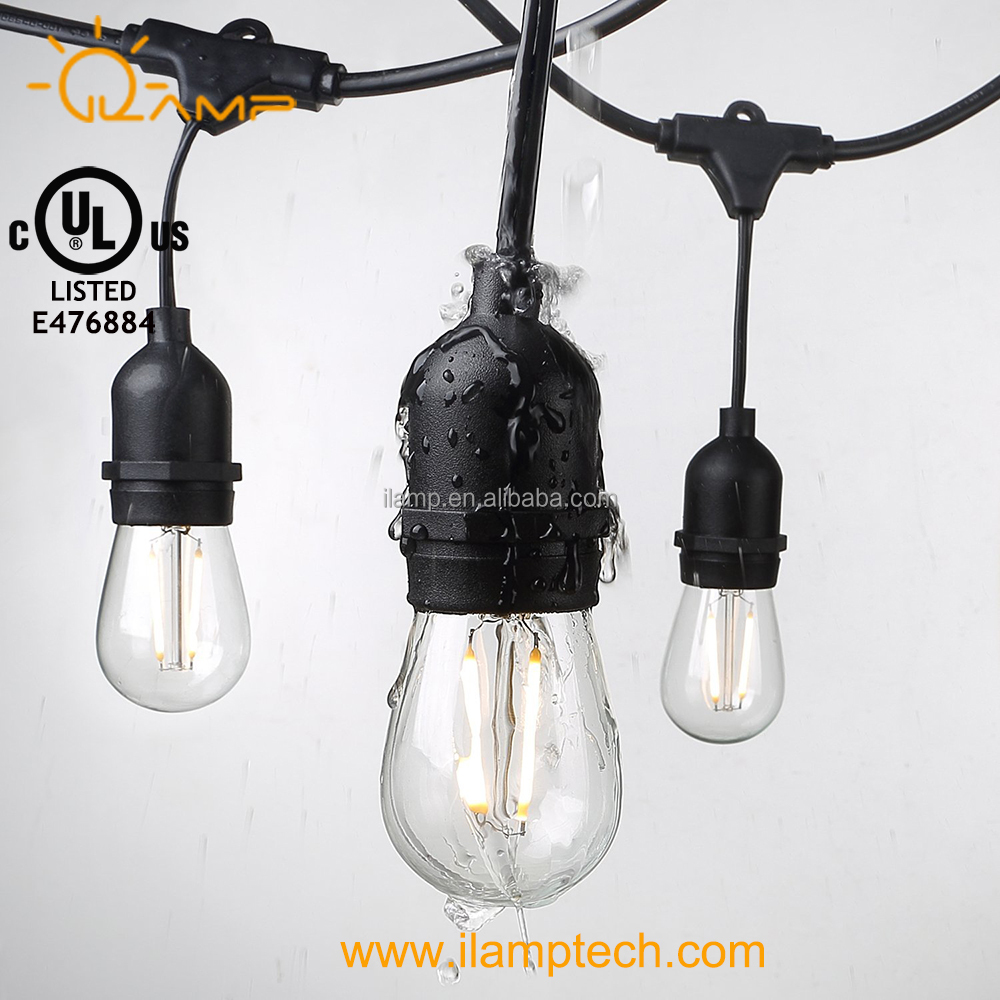 Christmas outdoor decoration led string lights 48FT UL String lights S14 Dimmable Filament Led Bulb