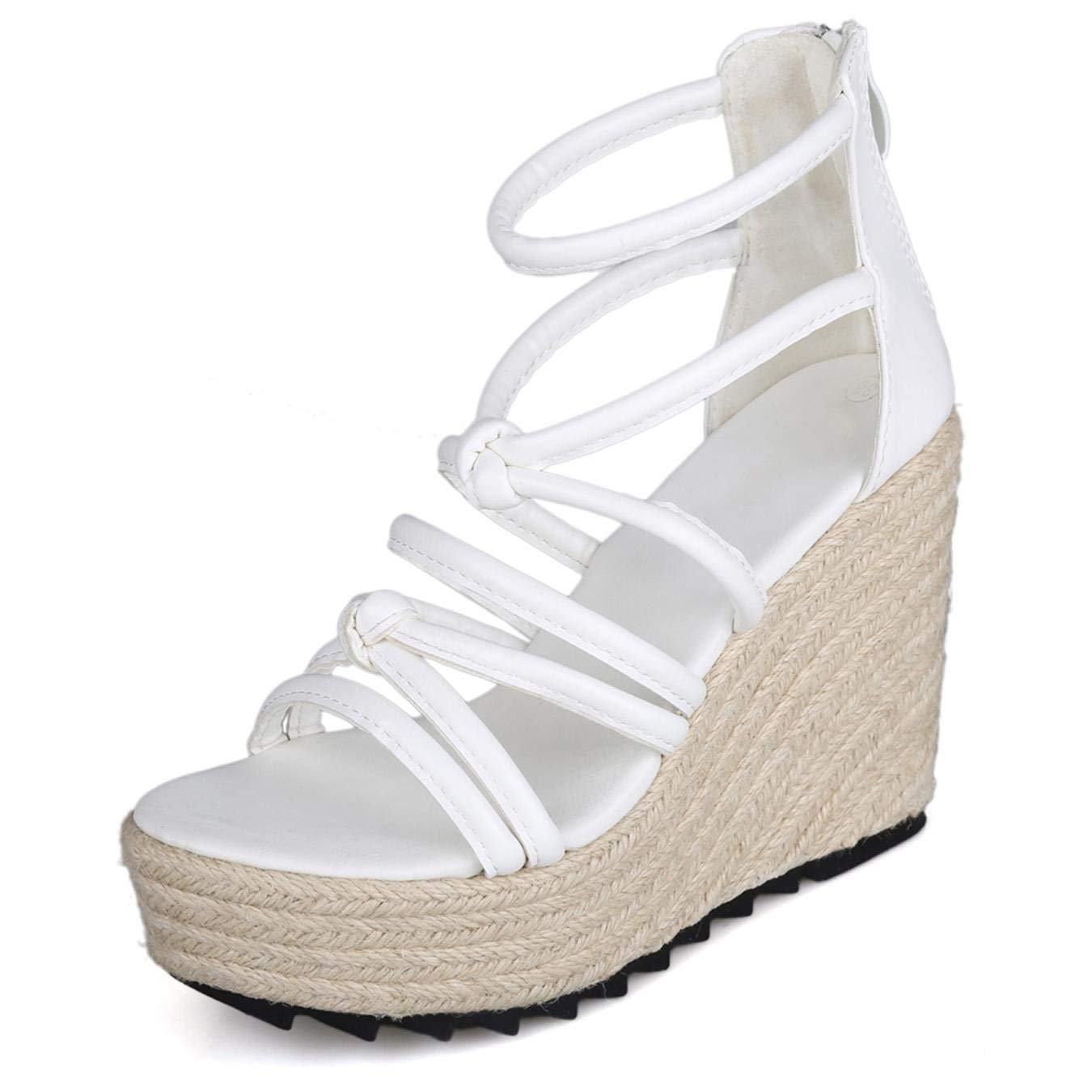 b6db533c04c65b Get Quotations · Summer Wedges Sandals Peep-toe Gladiator Shoes Lace-up  Hollow Beach Shoes 10CM High