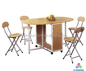 Space Saving Home Furniture Folding Dining Table With 4 Chairs