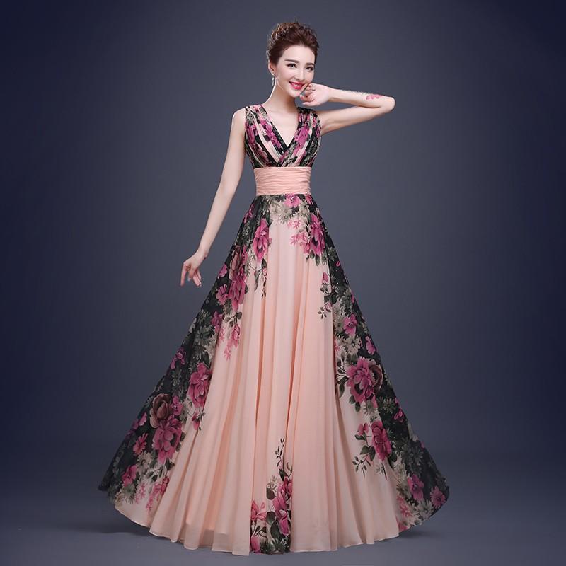 Fashion Elegant Flower Printing Deep V Neck Chiffon Long Evening ...